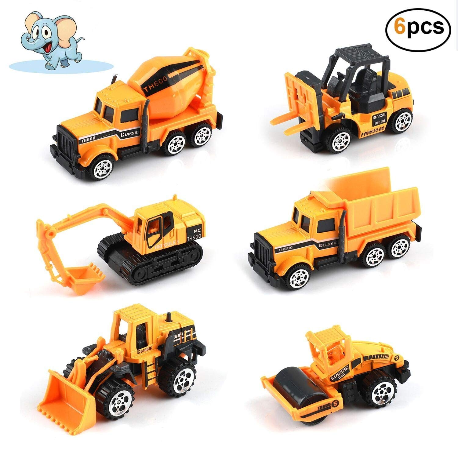 Engineering Vehicles - Construction Vehicles, 6 Pcs Play Vehicles Mini Car Toys Set Die Cast Assorted Trucks Friction Powered Push Play Truck Toys for Children Kids Boys Girls Birthday Party Gifts