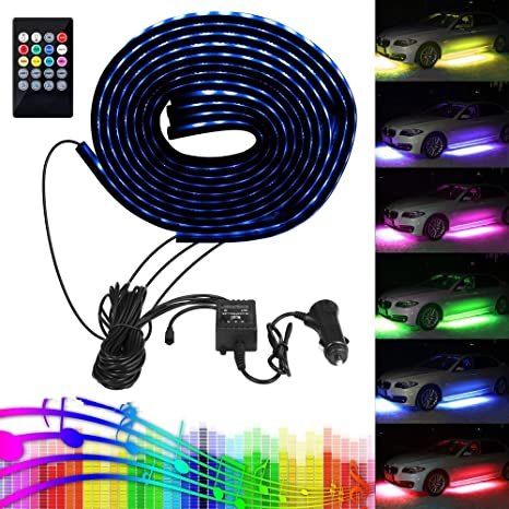 Amazon car led strip light lahoku smd 5050 rgb multicolor 12v car led strip light lahoku smd 5050 rgb multicolor 12v 84 leds waterproof music car mozeypictures Images