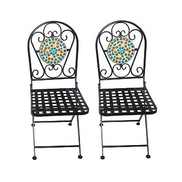 Amazon.de: gardensity Mosaik Bistro Terrassenstühle - Zwei Folding ...