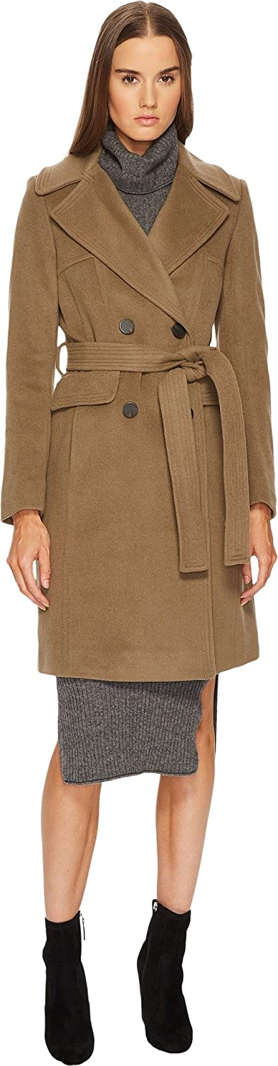British Khaki Diane Von Furstenberg Womens Double Breasted Tie Waist Wool Coat