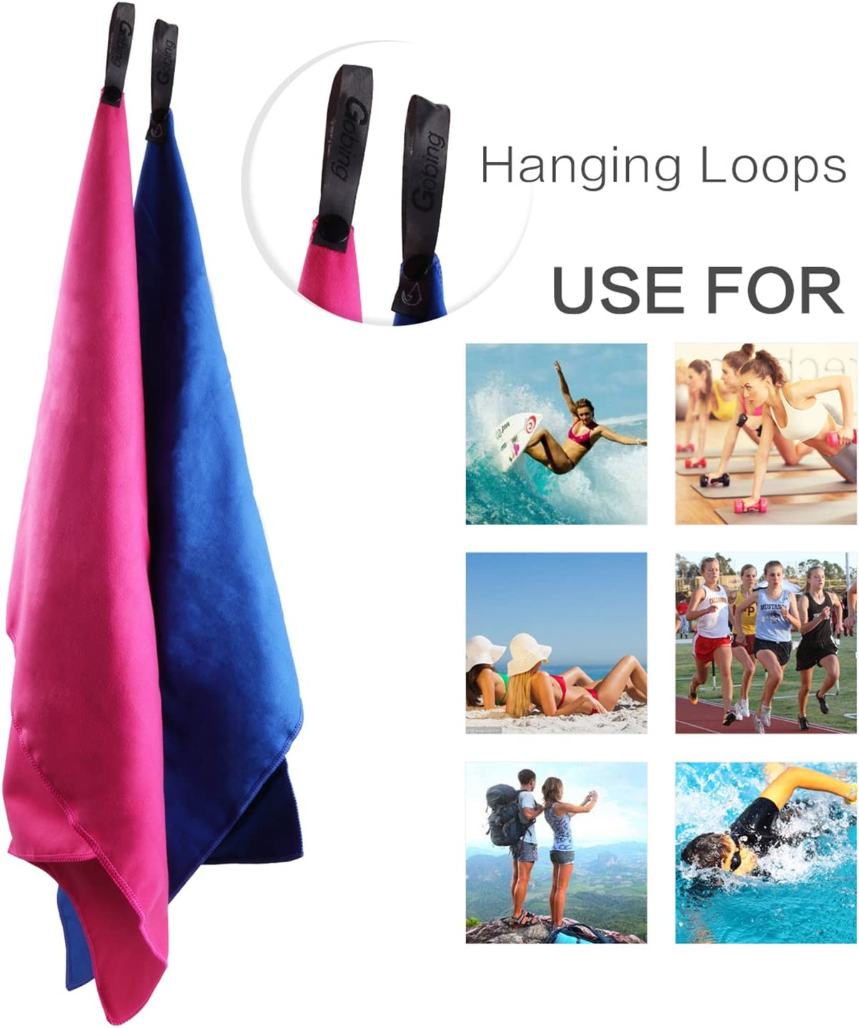 /& Mesh Bag for Swimming Yoga Travel Sports 59 X 31 Camping with Hand//Face Towel Gobing Microfiber Towel 2 Pack Absorbent Quick Drying Antibacterial Gym Beach 24X15 Beach Rose
