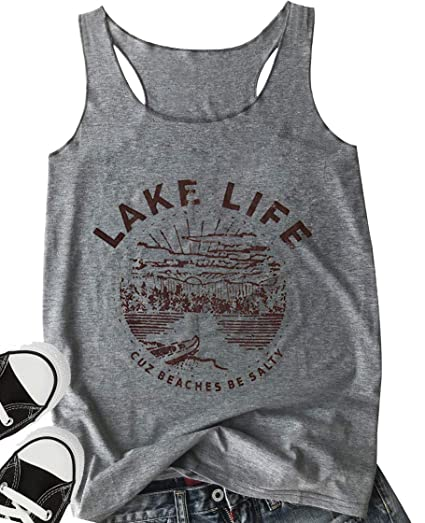 0ee0ed778eead LANMERTREE Women Graphic Tees Lake Life Letters Print Tank Top Sleeveless  Workout T-Shirt …