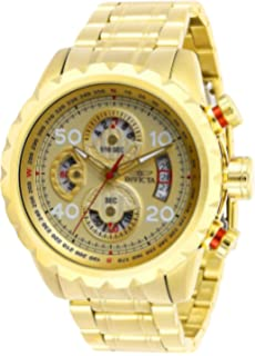 Invicta Mens Aviator Analog Quartz Watch with Stainless Steel Strap, Gold, 24 (Model