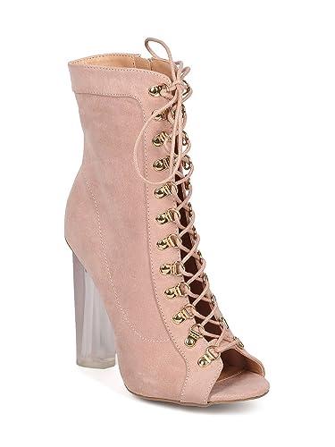 2ceb28c3127 Wild Diva Women Faux Suede Peep Toe Corset Lace Up Lucite Block Heel Bootie  GG00 -