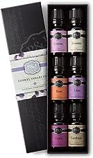 Floral Set of 6 Premium Grade Fragrance Oils - Violet, Jasmine, Rose, Lilac, Freesia, Gardenia - 10ml