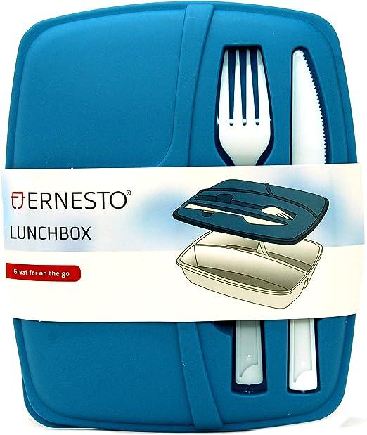 Ernesto - Fiambrera de 3 secciones con cuchillo y tenedor para ...