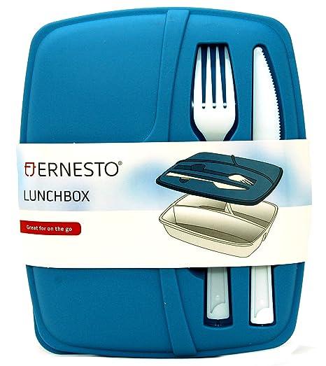 Ernesto - Fiambrera de 3 secciones con cuchillo y tenedor ...