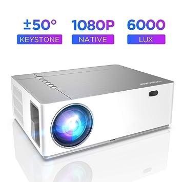 Proyector Full HD 1080p Nativo 6000 Lúmenes BOMAKER, Soporta 4K, Dolby, 3 en 1 Corrección Digital de ± 50 °, Zoom de -50%, Contraste 8000:1, Cine en ...
