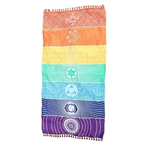 MIRRAY Hot Rainbow Beach Mat Mandala Manta Colgante de Pared Tapiz Raya Toalla Yoga