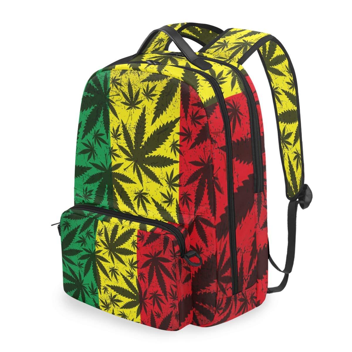MAHU Backpack Marijuana Hemp Leaves Stripe Detachable College Bag Travel Zipper Bookbag Hiking Shoulder Crossbody Bag Daypack for Women Men