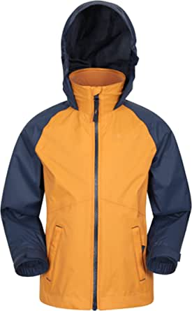 Mountain Warehouse Torrent Chaqueta Impermeable para niños - Costuras Selladas, Bolsillos con Cremallera, características Ajustables - Ideal para Acampar, Excursionismo