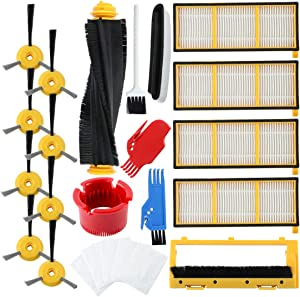 Livtor Replacement Filters, Brushes and Brushes Cover Accessories Kit, for Shark Ion Robot RV700, RV720, RV750, RV750C, RV755 Robotic Vacuums, Replacing Part# RVFFK700 and RVSBK700