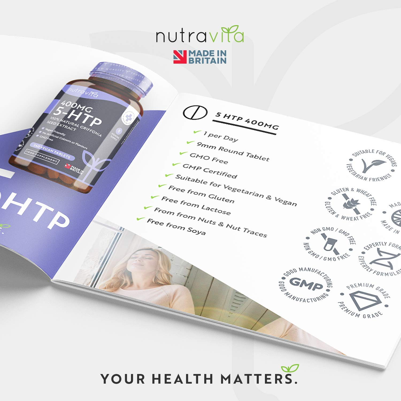 5-HTP 400 mg | 240 tabletas veganas | Suministro de 8 meses | 5htp de extracto puro de semilla de Griffonia | Hecho en el Reino Unido por Nutravita