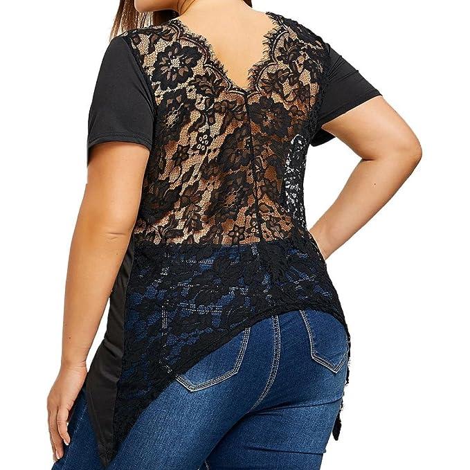 Lenfesh Mujer Sexy Blusa Encaje Negro Casual Camiseta Talla Grande(XL~5XL): Amazon.es: Ropa y accesorios