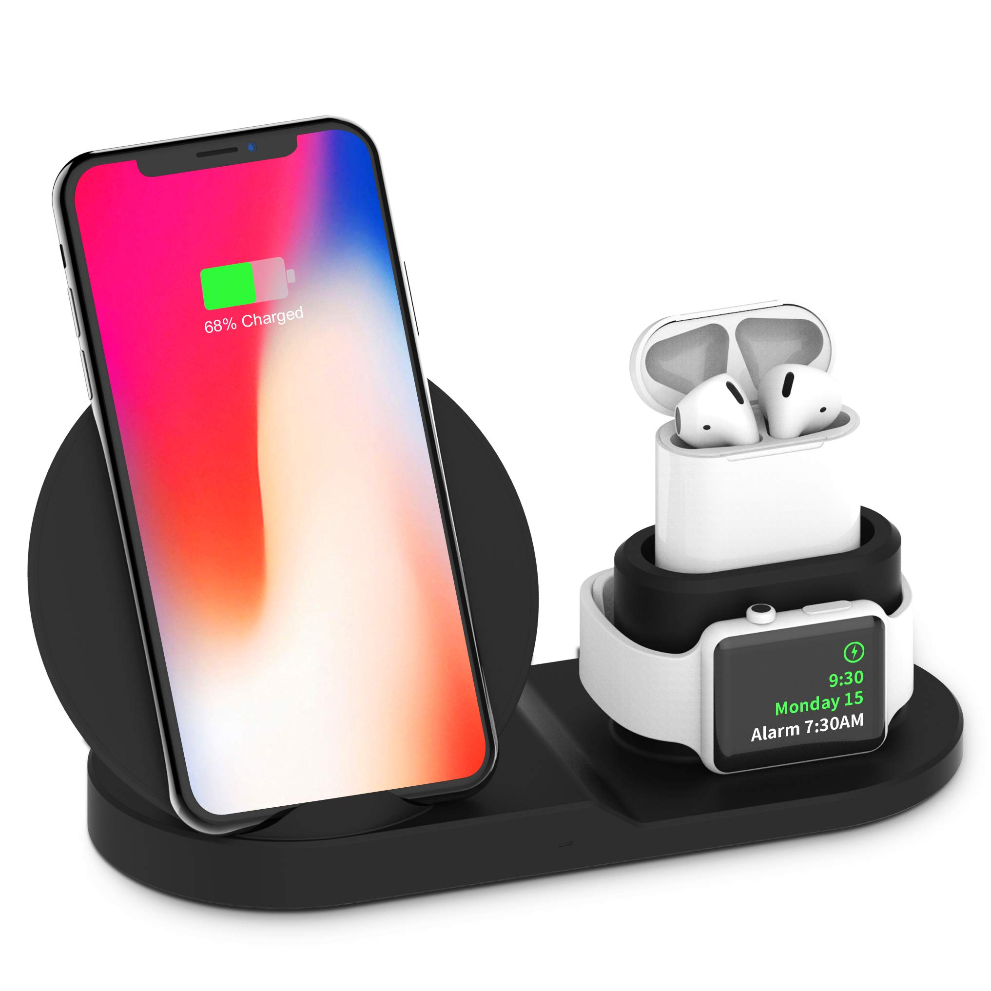 BESTBEING Wireless Charger, 3 in 1 Wireless Charging Dock for Apple Watch and Airpods, Charging Station for Multiple Devices, Qi Fast Wireless Charging Stand Compatible iPhone X/XS/XR/Xs Max/8/8 Plus by BESTBEING
