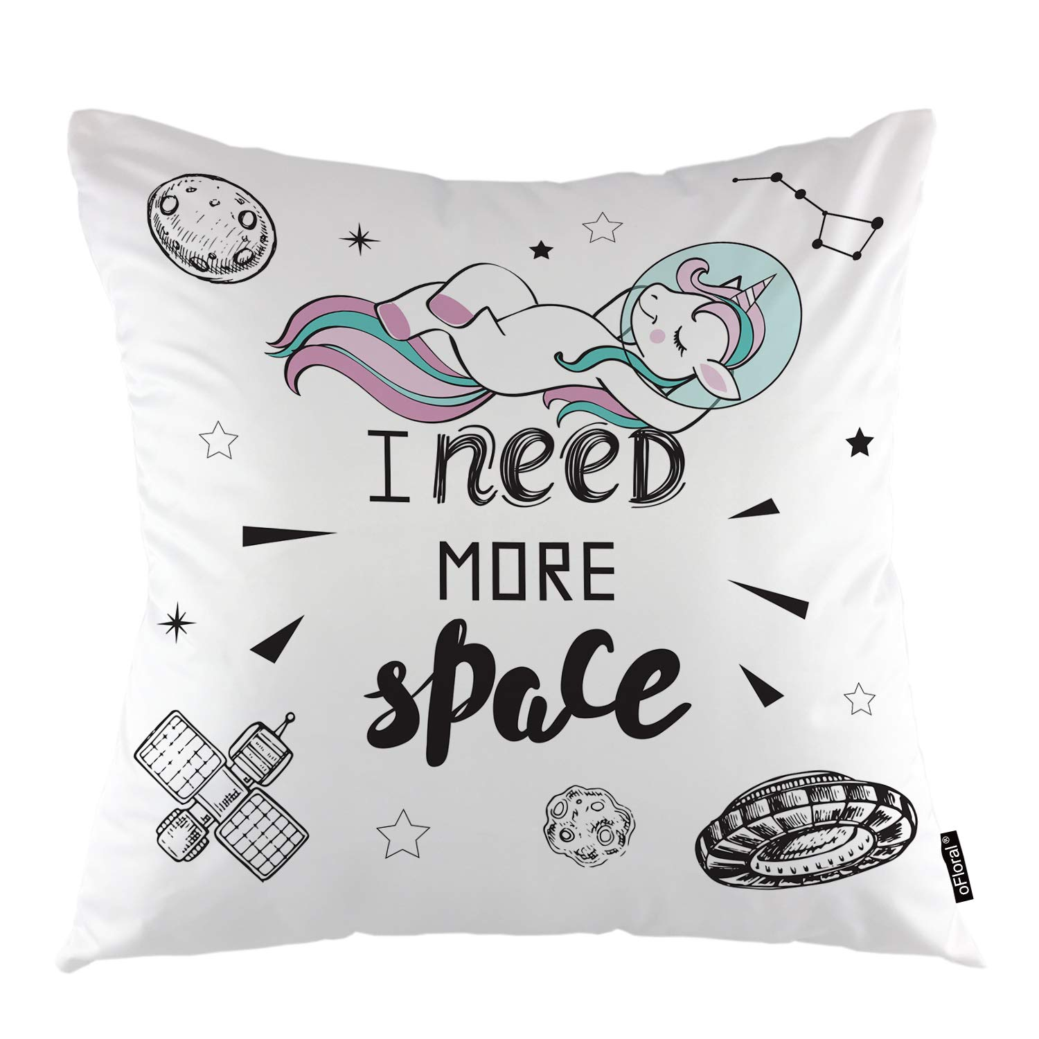 oFloral Unicorn Throw Pillow Cover Cute Pink Hair Girl Unicorn in Space Decorative Square Pillow Case 18X18 Pillowcase Home Decor for Sofa Bedroom