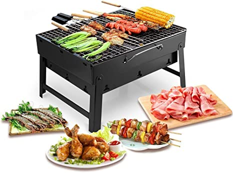 Barbecue Portable Uten Petit Barbecue à Charbon de Table Domestique Pliable avec 2 Barbecue Grille Inox Barbecue extérieur/Camping/piquenique