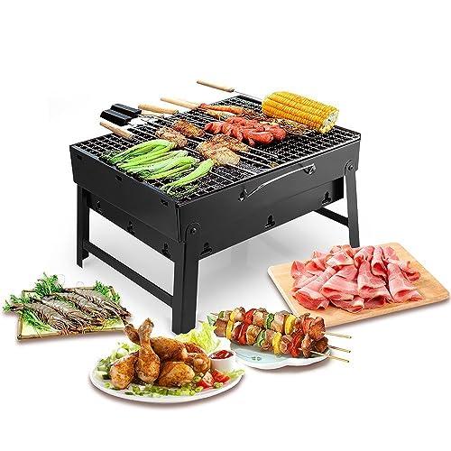 UTEN Barbacoa Portátil de Acero Inoxidable, BBQ de Carbón con Rejilla Portátil Plegable Barbacoa de