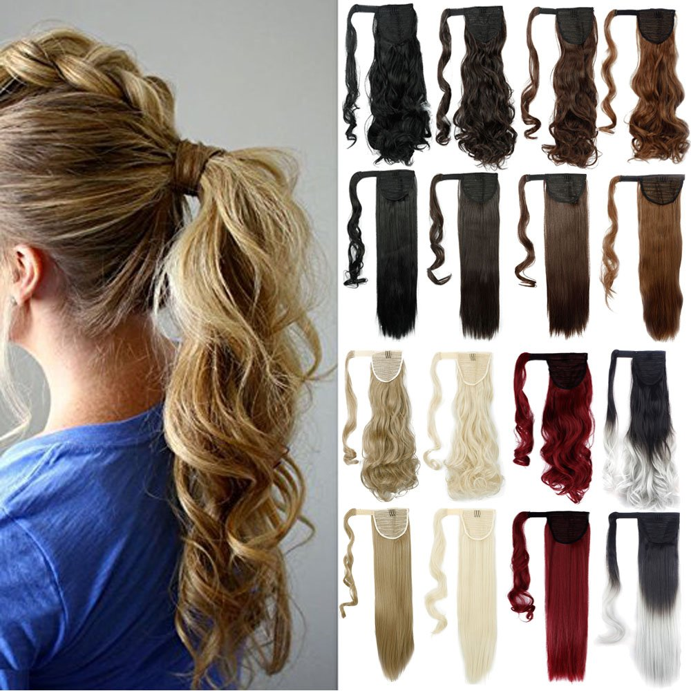 "Amazon com : 18"" Straight Wrap Around Ponytail Human Hair"