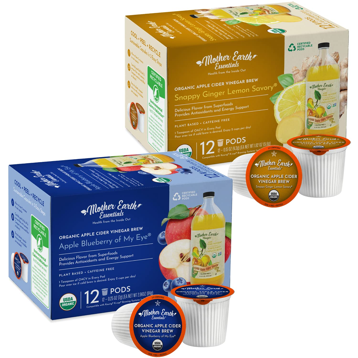 Mother Earth Essentials Superfood Tea LEMON / BLUEBERRY SAMPLER infused with Organic Apple Cider Vinegar with The Mother. Get your daily dose with fruit & herbs. Organic. (12 Single Serve Pods)