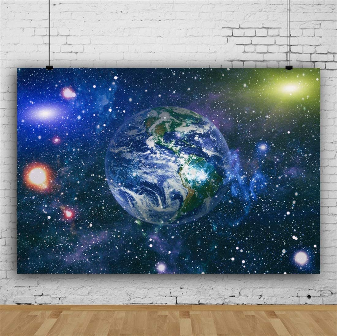 Yeele 10x8ft Universe Photography Background Earth Outer Space Planet Galaxy Milky Way Galaxy Shining Stars Solar System Photo Backdrop Studio Props Video Drape