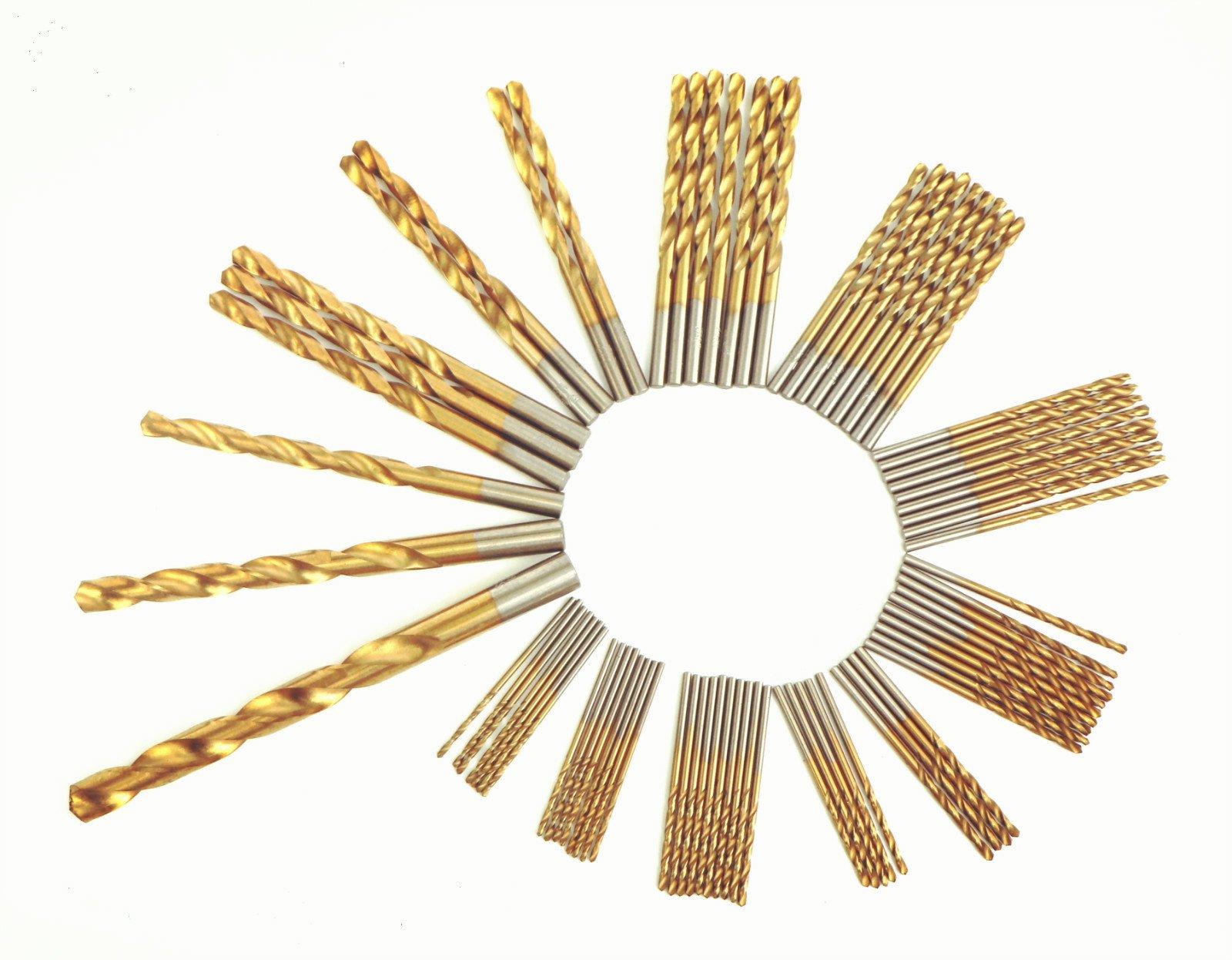 DRILLFORCE, 160 PCS,HSS Titanium Coated Twist Drill Bits Set,3/64''-1/2'', Metal drill, ideal for drilling on mild steel, copper, Aluminum, Zinc alloy etc.