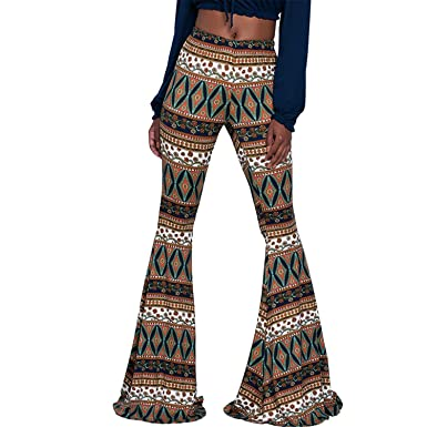 2d057c495a806 Reedbler Summer Wide Leg Pants Women High Waist Flare Pants Plus Size Women  Trousers Vintage Print