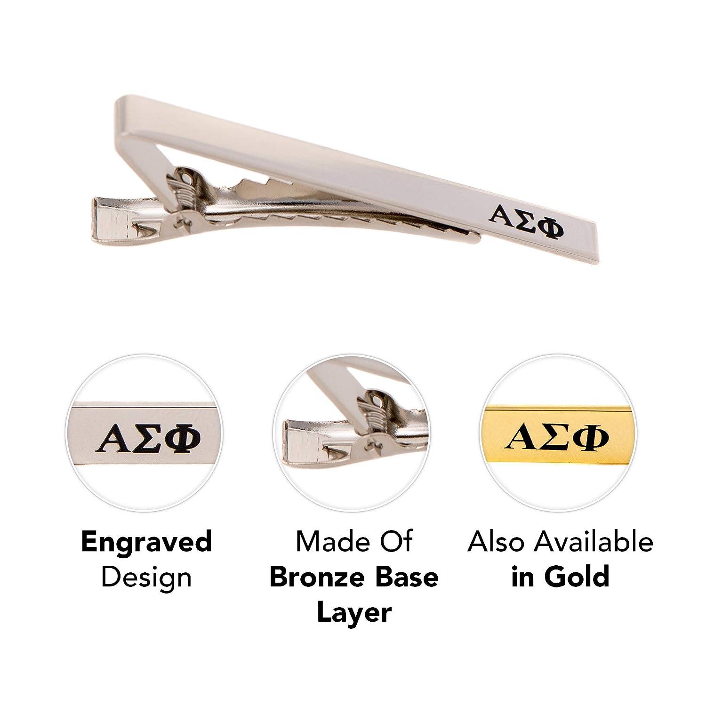 Silver Letter Tie Bar Desert Cactus Alpha Sigma Phi Fraternity Silver//Gold Engraved Letter Tie Bar Greek Formal Occasion Standard Length Width Alpha Sig