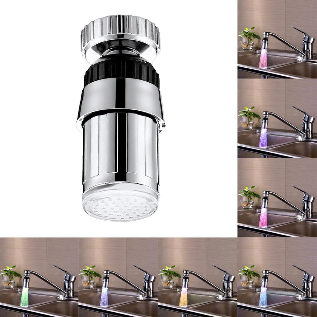 Colorful LED Water Faucet, GOTD Water Stream Faucet Tap, 7 Color Changing Temperature Control Kitchen and Bathroom