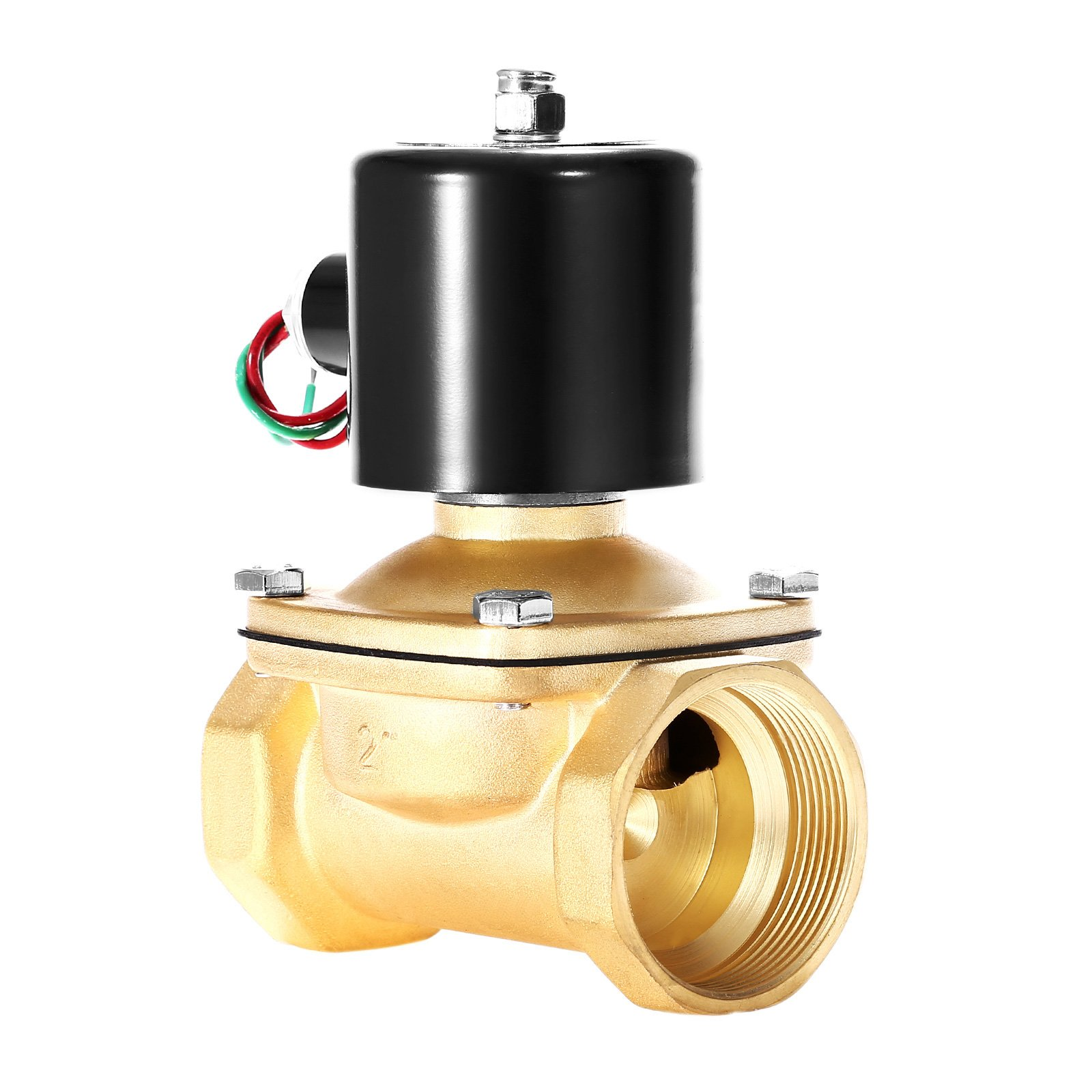 Happybuy Electric Solenoid Valve NPT 2 Inch Brass Solenoid Valve AC 110V Electric Solenoid Valve Normally Closed Compatible with Water Gas Oil