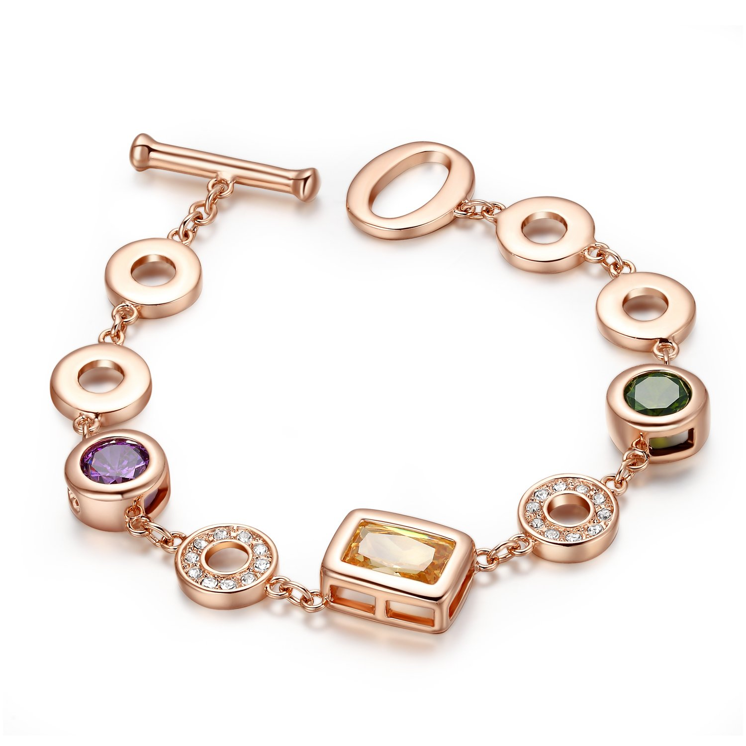 Yoursfs Floating Locket Bracelet Wedding Women 18K Rose Gold Plated Colorful Austrian Crystal Circle Charms Bracelets Fashion CZ Chain Jewelry for Mother