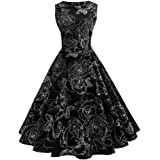 007XIXI Prom Dresses with Pockets and Zipper,Women Vintage Floral Bodycon Sleeveless Casual Evening Party Prom Swing Dress