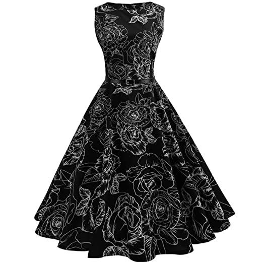 c9d23c1a500c1 Women Dresses Lady Vintage Print Bodycon Sleeveless Evening Party Swing  Dress Belt Black