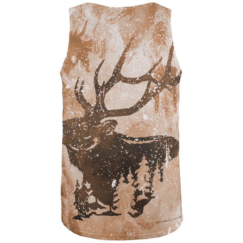 Distressed Brown Elk Silhouette All Over Mens Tank Top