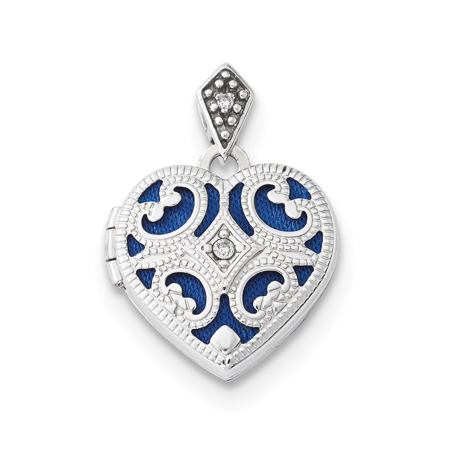 Roy Rose Jewelry 14K White Gold 15mm Diamond Heart Locket by Roy Rose Jewelry