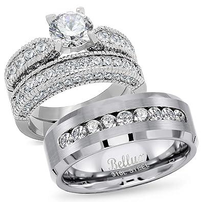 Amazon.com: Set de anillos de boda de circonia cúbica ...