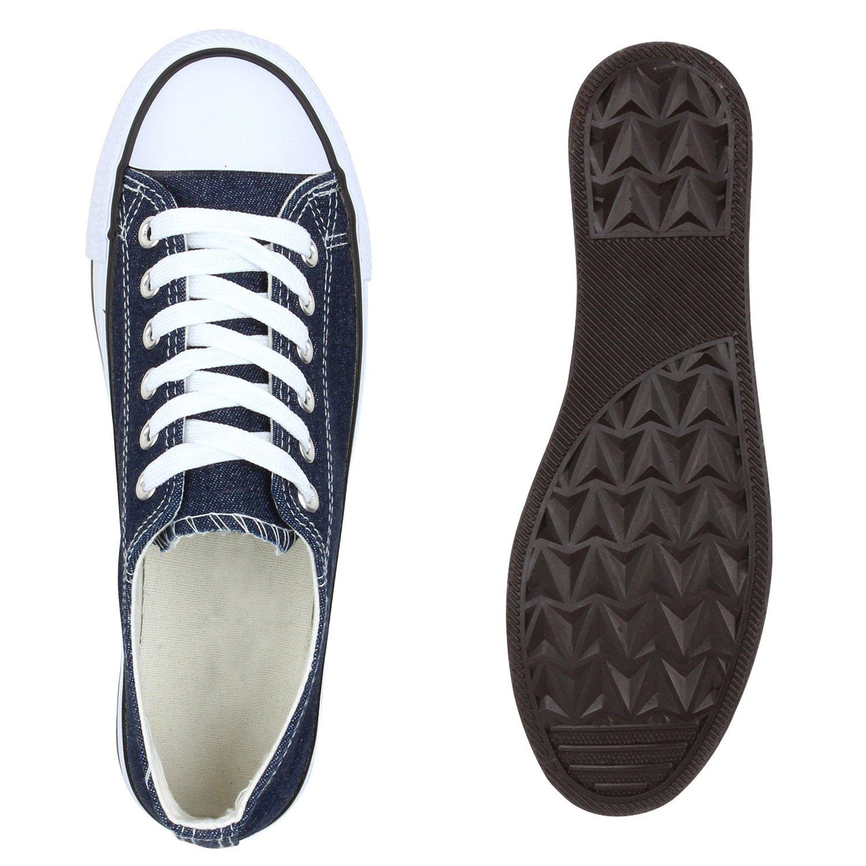 Stiefelparadies Unisex Übergrößen Damen Herren Sneaker Low Übergrößen Unisex Flandell Dunkelblau Denim Berkley 91bc3d