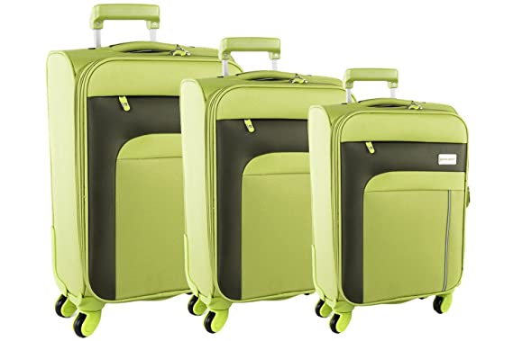 3 Piece Semi Rigid Luggage Set PIERRE CARDIN Green Cabin Baggage S203