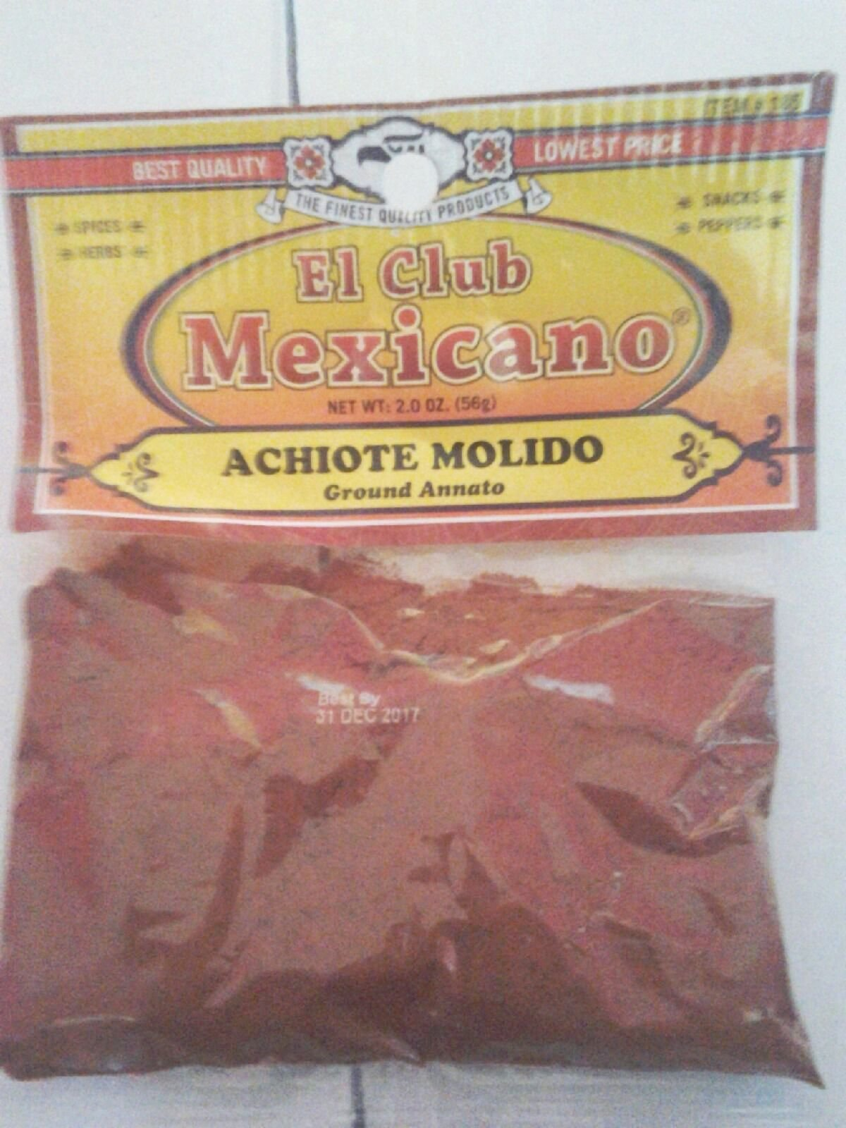 Achiote Molido ,Annatto Powder, 2 Oz.