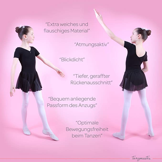 beautiful dance dress for children in many colors made of soft and durable cotton blend tanzmuster girls/´ short-sleeved ballet leotard Betty with chiffon skirt and rhinestones