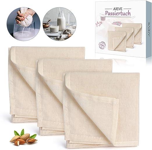 AIEVE - Paño de algodón cuadrado (50 x 50 cm, 3 unidades): Amazon.es: Hogar