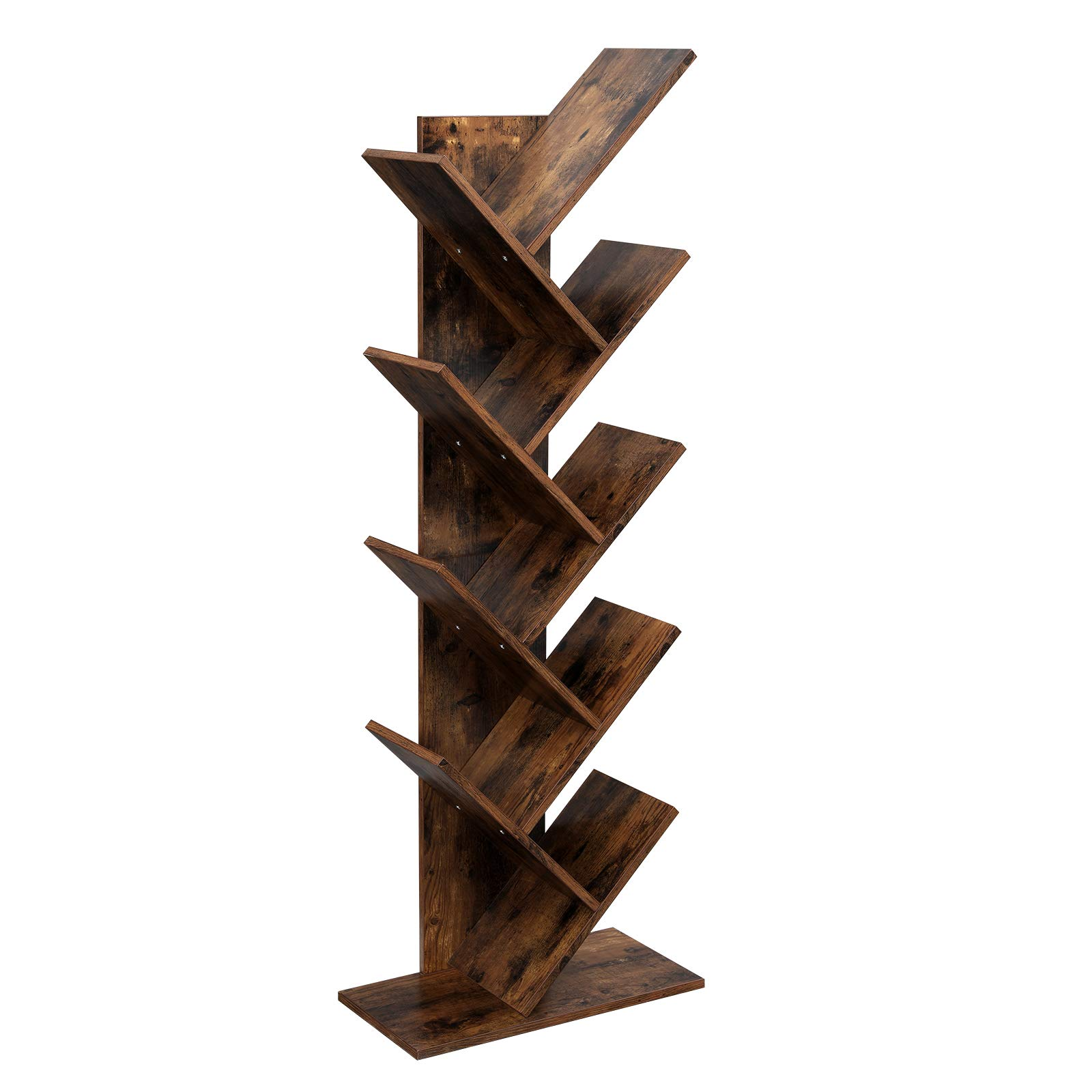VASAGLE Tree Bookshelf, 8-Tier Floor Standing Bookcase, with Wooden Shelves for Living Room, Home Office, Rustic Brown ULBC11BX by VASAGLE (Image #7)