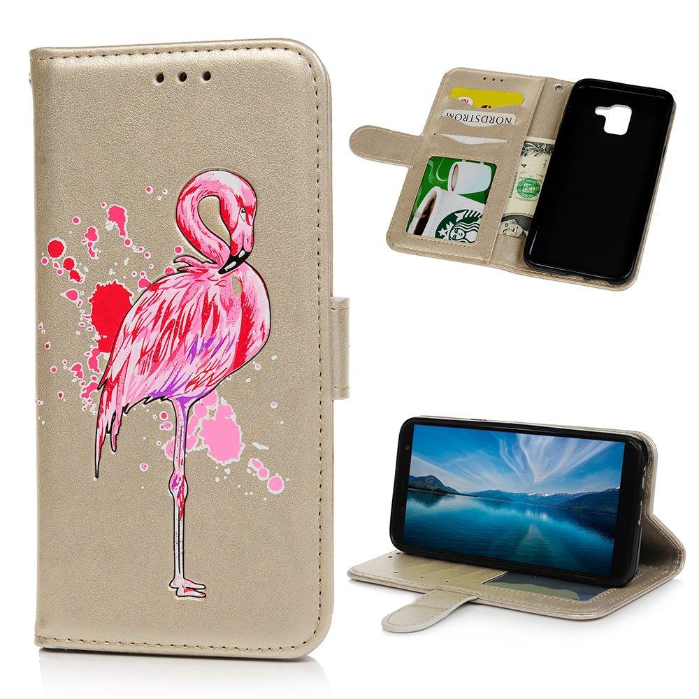 Coque pour Samsung Galaxy J6 2018 LANVY Bookstyle Étui Housse Imprimé en PU Cuir Case à rabat Coque de protection Portefeuille Case pour Samsung Galaxy J6 2018 - Or