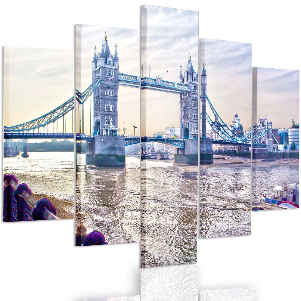 Feeby. Leinwandbild - 5 Teile - Bilder, Wand Bild, Wandbilder, Kunstdruck XXL, 5-Teilig, Typ A, 200x100 cm, LONDON BRÜCKE, AUSSICHT, LONDON, MULTIFARBE, MODERN,