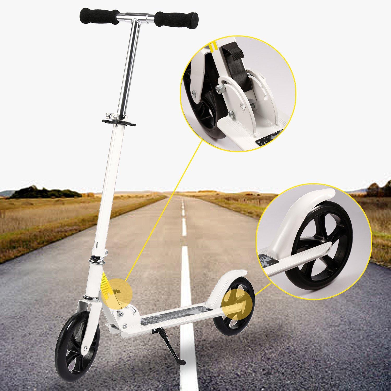 Bunao Big Wheel Scooter 200 mm - City Scooter suspensión Doble, Patinetes clásicos Plegable y Ajustable en Altura, Grande Kick Scooter para Adultos y ...