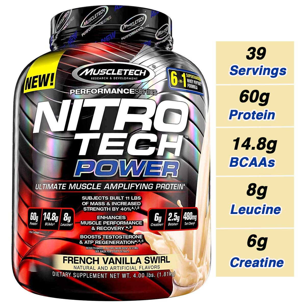 MuscleTech Nitro Tech Power Whey Protein Powder Musclebuilding Formula, French Vanilla Swirl, 4 Pounds by MuscleTech