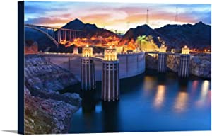 Boulder, Nevada - View of the Hoover Dam at Night with Lights On A-9013182 (36x24 Gallery Wrapped Stretched Canvas)