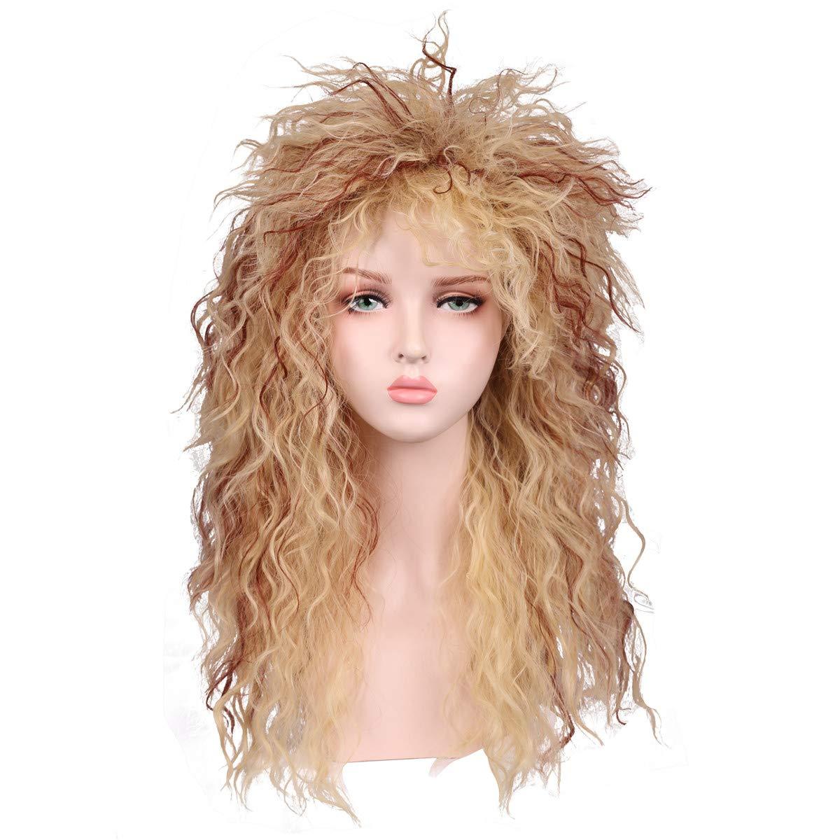 Fantalook Women Long Curly 80s Blonde with Reddish Brown Cosplay Wig by FantaLook