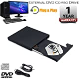 External USB 2.0 Slim MULTI CD DVD PLAYER READER DVD ROM+CD ROM Drive CD/DVD Copier for Netbook, Notebook, Desktop, Laptop,Macbook, Air Mac, Webook Plug and Play for Windows XP, Vista, Windows 7,8, 10 and Above Apple OSx