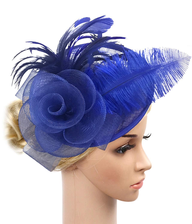 Z&X Sinamay Fascinator Headband Mesh Feather Flower Cocktail Pillbox Hat (Royal Blue)
